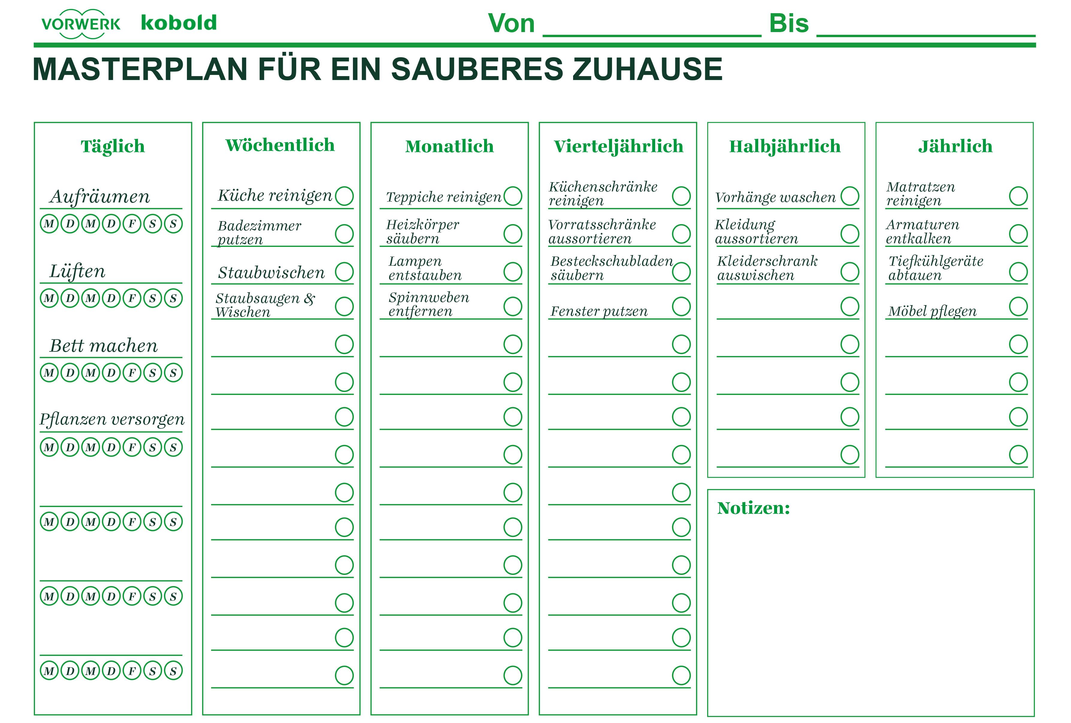 Putzplan Vorlage zum Ausdrucken Wochenplan & Jahresplan ...